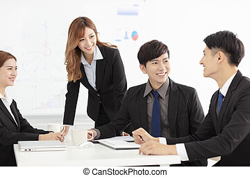 young business team discussion in office