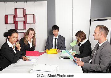 Young business team having a meeting