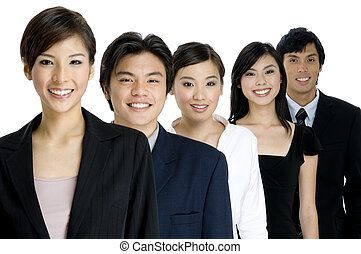 Young Business Team - A group of young asian businessmen and...