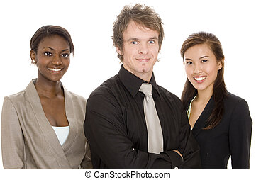 Young Business Team - Three young attractive individuals...