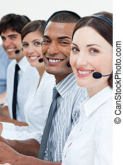 Young business team with headset on