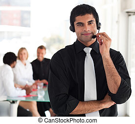 Young business Team working in a call center