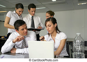 Young business team working on project