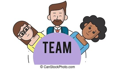 Young business teamwork HD animation