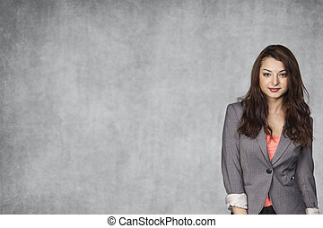 Young business woman and copy space