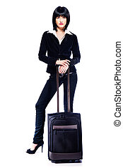 business woman and suitcase