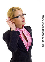woman cupping hand behind ear - Young business woman cupping...
