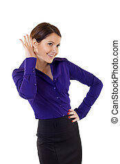 Young business woman cupping hand behind ear on white...