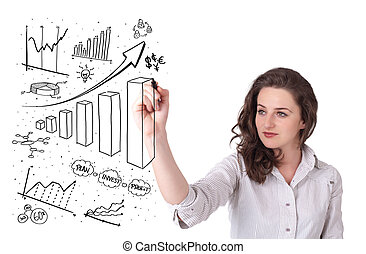 Young business woman drawing diagrams on whiteboard