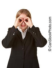 young business woman hands like binoculars