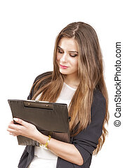 Young business woman holding a file, isolated on white backgroun