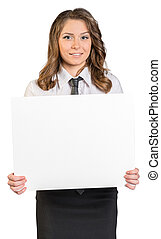 Young business woman holding blank poster.