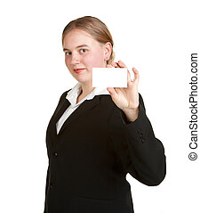 young business woman holding card