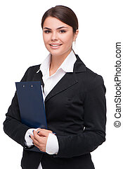 Young business woman holding folder