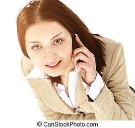 Young business woman holding phone looking up and smiling