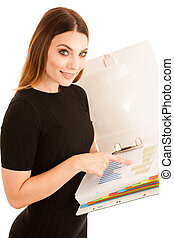 Young business woman in black dress holds a folder isolated over white background