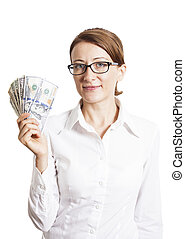 Young Business Woman In Eyeglasses Holding Dollar Banknotes