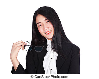 business woman in suit holding glasses isolated on white background