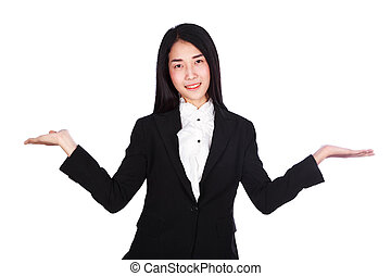 business woman in suit with empty hand isolated on white background