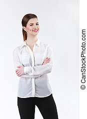 Young business woman in white shirt