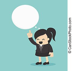 young Business Woman  indicate cloud text