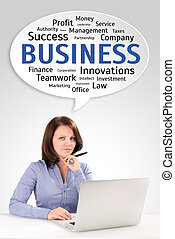 Young business woman is sitting in front of a laptop under speech bubble, business concept
