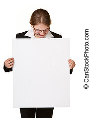 young business woman isolated with sign card
