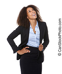 Young business woman laughing