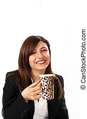 business woman observed a coffee break.