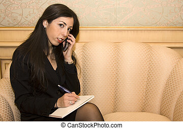 Young Business Woman on Mobile Phone