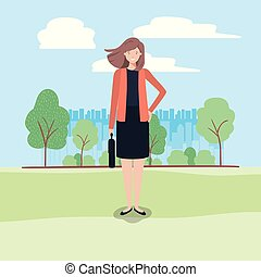 young business woman on the park