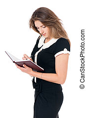 Young business woman on white