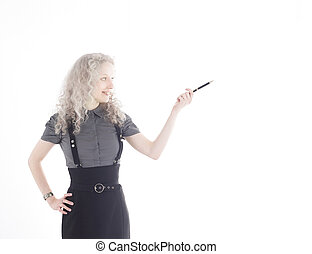 young business woman pointing at copy space.
