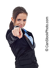 Young business woman pointing forward