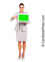 young business woman pointing laptop