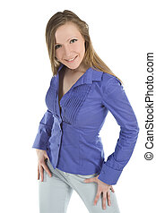 young business woman posing against white background