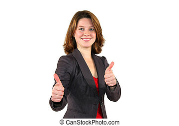 young business woman posing with thumbs up sign