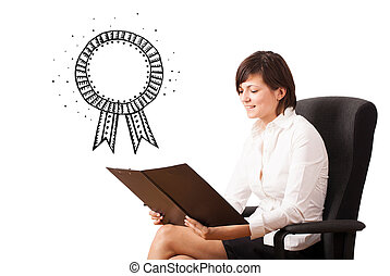 Young business woman presenting a ribbon