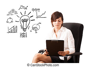 Young business woman presenting light bulb with various diagrams and charts on whiteboard isolated on white