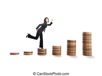 young business woman running on money stairs