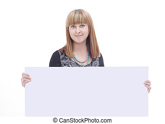 young business woman showing blank poster .isolated on white