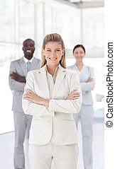 Young Business woman smiling at camera