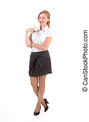 Young business woman standing isolated on white