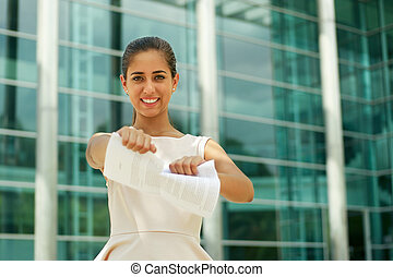 Young Business Woman Tears Pages Of Contract Smiling -...
