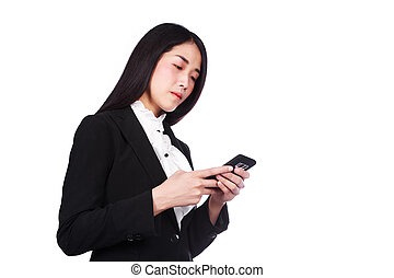 business woman using a mobile phone isolated on white background