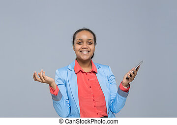 Young Business Woman Using Cell Smart Phone African American Girl Happy Smile Businesswoman