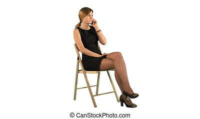 Young Business Woman Using Telephone on white background isolated