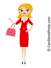 young business woman, vector illustration