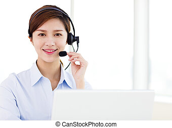 young business Woman wearing headset in office