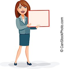 Young business woman with a board